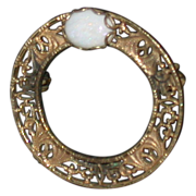 """Vintage Opal & 12K Gold Filled Pin, Signed """"Bojar"""""""