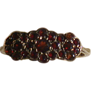 Garnet Triple-Flower Vintage Ring, 9ct Rose Gold, Size 5