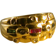 14K Gold/Diamond/Sapphire/Ruby/Emerald Ring, Size 6.25