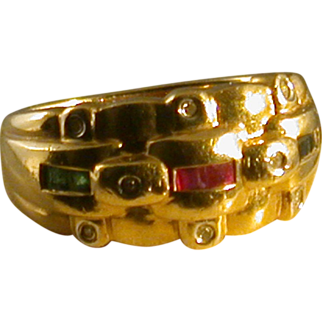 14K Gold/Diamond/Sapphire/Ruby/Emerald Ring, Size 6.25