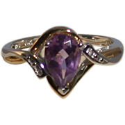 Amethyst/Diamond Ring In 10K Gold/Sterling Silver Setting