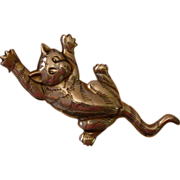 Sterling Silver Mischievous Cat Pin/Pendant, Vintage