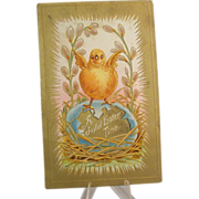 Easter Postcard With Chick, Embossed, Gilded, C. 1910