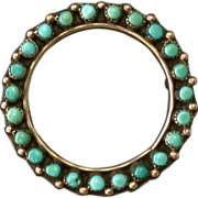 Antique Sterling & Turquoise Cabochon Circle Pin