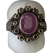 Ruby And Sapphire Ring Set In Sterling And 18K Gold, Vintage