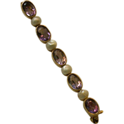 Amethyst, FW Pearl and 14K Yellow Gold Bar Pin, Circa 1900