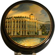 Russian Lacquer Box W/Winter Palace, Palekh, Artist Signed