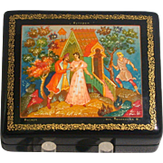 Russian Lacquer Box, Soviet Era, Artist Signed, Fairy Tale Theme