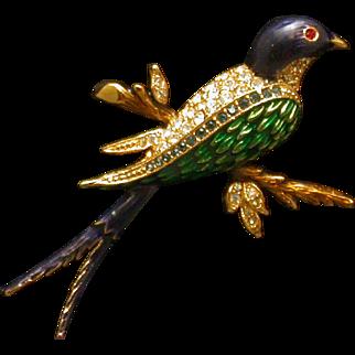 Figural Bird Pin, Enamel, Rhinestones, Vintage