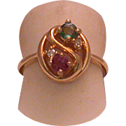 Vintage Emerald, Ruby & Diamond Lady's 14k Ring , Size 4 ¾
