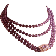 Nolan Miller Amethyst-Color Crystal Necklace, Pave Clasp, Vintage