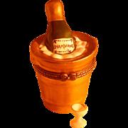 Figural Champagne Bucket Porcelain Box w/Trinket