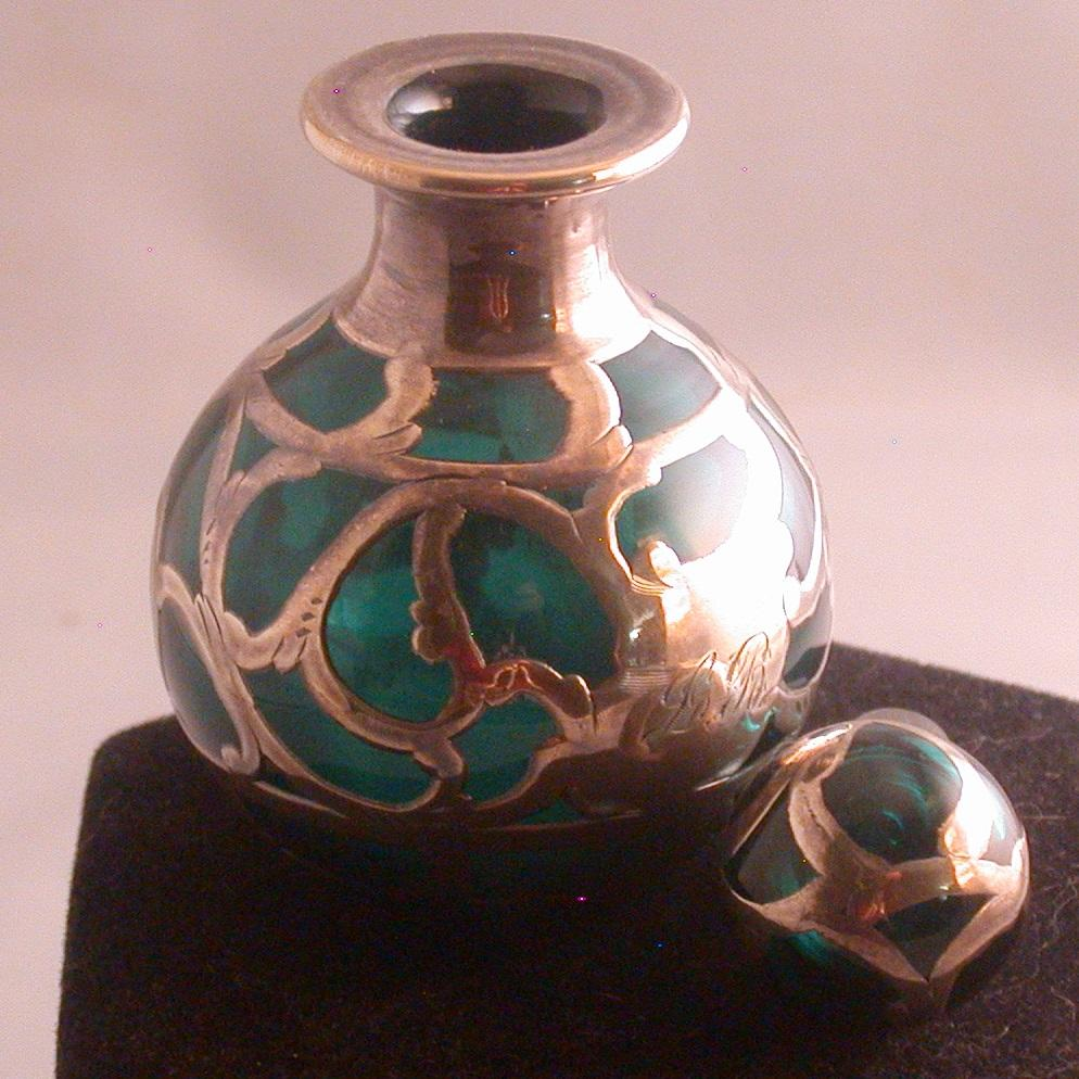 emerald green perfume bottle w  sterling silver overlay  art nouveau from ckantiques on ruby lane