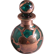 Art Nouveau Period Emerald Green Perfume Bottle, Silver Overlay