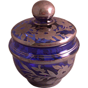Vintage Cobalt Blue Glass Powder Jar w/Silver Flashed Floral Pattern