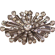 Atomic Style Clear Rhinestone Pin circa 1950's