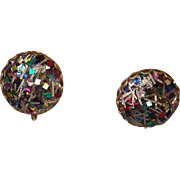 "Emmons Signed ""Confetti"" Earrings, Post 1955"