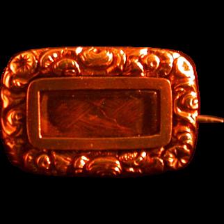 Antique Georgian Memorial Pin, Dated 1825, 18K Gold, Hairwork
