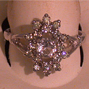Costume Rhinestone/Crystal/Silvertone Lady's Ring, Size 8 ¾