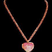 "Pink Rhinestone Ombre Heart Pendant, Costume, 16-18"" Chain"