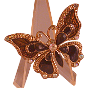 Butterfly Figural Pin, Costume, Brown/Rhinestone/Black Glass