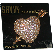Swarovski Crystal Studded Heart/Arrow Pin