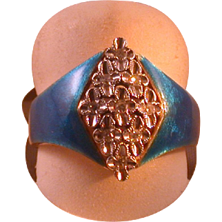 18K Yellow & White Gold, Diamond and Enamel Lady's Ring, Size 6 ¾