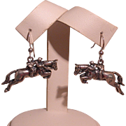 Equestrian/Steeplechaser Figural Sterling Silver Earrings, Signed Kabana
