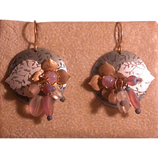 Holly Yashi, Signed Etched Niobium And Beaded Earrings, Circa 1990's
