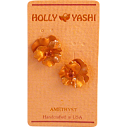 Holly Yashi, Etched Pansy Floral Earrings w/Amethyst, C. 1990's