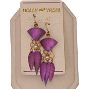 Holly Yashi Niobium Dangle Earrings, Magenta Color, c.1990's