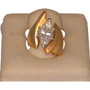 14K Gold Electroplate/Marquise CS Ring, Bold, Vintage, Size 4 1/2