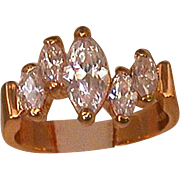Lady's EDCO Ring, Gold Electroplate W/5 Marquise Czs, Vintage