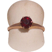 14K Gold And Garnet Solitaire Lady's Ring, Size 6.25