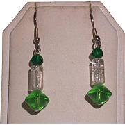 Spring Green and Clear Bead Earrings, Silvertone French Wires