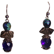 Iridescent Blue/Purple and Silvery Metal Bead Drop Earrings