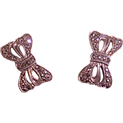 Sterling Silver And Marcasite Bow Form Earrings, Mid-Century Modern Period
