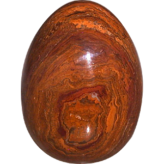 Agate Stone Egg, Caramel/Red- Brown, Dark Grey-- Decorative!