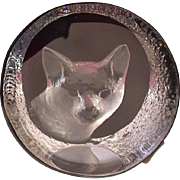 Mats Jonasson Signed, Arctic Fox Lead Crystal Paperweight