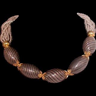 Venetian Glass Necklace, Grey/Gold/Black, Vintage And Elegant