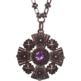 Sterling Silver and Amethyst Cross W/Quatrefoils, Made in Lebanon