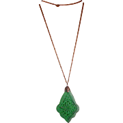 Art Deco Period Czech Glass Emerald Green Pendant on Chain