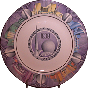 1939 New York World's Fair Souvenir Plate, Art Deco, Homer Laughlin