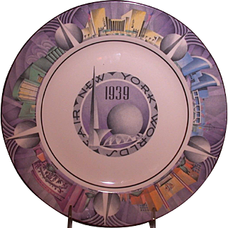 1939 New York World's Fair Souvenir Plate, Art Deco, Homer Laughlin