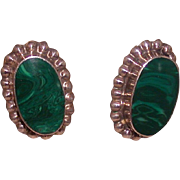 Mexican Silver And Malachite Oval Earclips