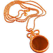 "Magnifying Glass Pendant on Chain, Marked ""Princess House"""