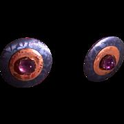 Holly Yashi 1990's Vintage Earrings w/Amethyst Cabochon