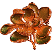 Monet Enameled/Rhinestone Accented Magnolia Pin, Boxed