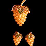 Vintage Crown Trifari Pin/Earrings, Grape Motif w/Enamel