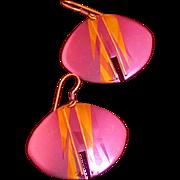 Holly Yashi Designer Signed Dangle Earrings, Vintage 1990's